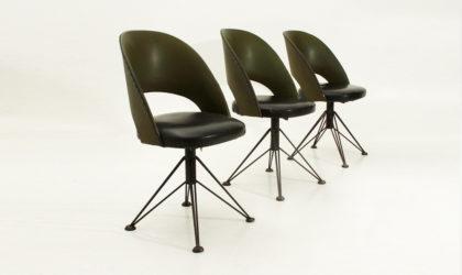 Tre sedie girevoli in skai anni '50, mid century swivel chairs, italian design, 50's, gastone Rinaldi, Rima, steel, black, green