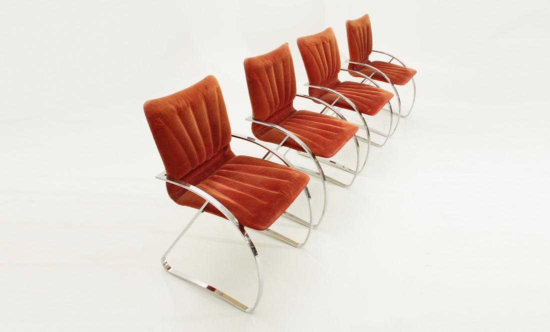Quattro sedie in metallo cromato anni 39 70 mid century for Mobili willy rizzo