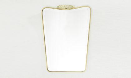 Specchio con cornice in ottone anni '50, mid century brass frame mirror, 50's, vintage, italian design modern, gio ponti, paolo buffa