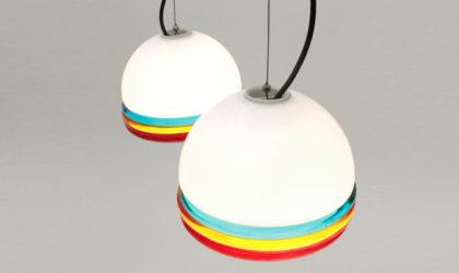 Coppia di lampadari in vetro colorato di Murano anni '60, mid century pendant lamp, 60's, vintage, leucos, venini, colored glass, ettore sottsass, vistosi