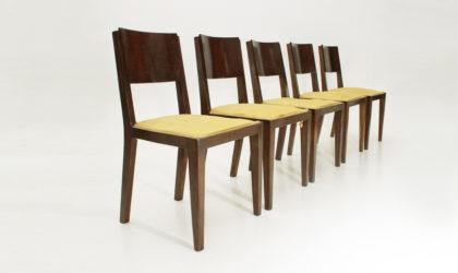 cinque sedie Art Decò anni 40, mid century dining chairs, 40's, 30's, italian modern design, osvaldo Borsani, vintage, giovanni muzio, portaluppi