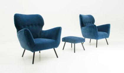 Coppia di poltrone in velluto blu con pouf anni '50, mid century velvet armchairs, 50's, italian design modern, vintage, blue, gio ponti, marco zanuso