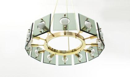Lampadario in ottone e vetro a 12 luci di Gino Paroldo anni '50, mid century chandelier brass, italian design, 50s, fontana arte, cristal art, max ingrand