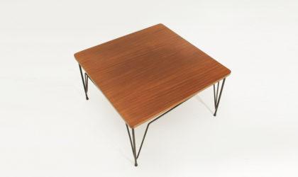 Tavolino quadrato con piano in teak Cerutti anni '50, mid century coffee table, 50's, italian design, metal, ico parisi, gio ponti, cassina