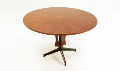 Tavolo con piano rotondo in teak anni '60, mid century table, 60's, italian design, dining, metal, ignazio gardella, sergio mazza, black, ferro