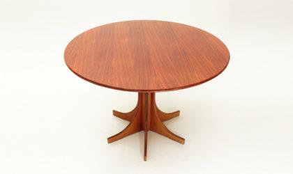 Tavolo in legno con piano circolare anni '60, mid century table, vintage, italian design, 60's, wood, round, 70's