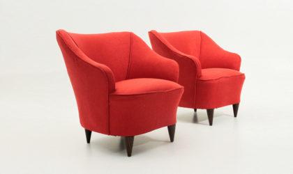 Coppia di poltrone rosse anni '40, mid century armchairs, red, 40's, 50's, 50, italian design, gio ponti, casa e giardino