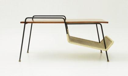 Tavolino con porta riviste modello T236 di Gastone Rinaldi per Rima anni '50, mid century coffee table, italian design, 50's, metal, magazine rack