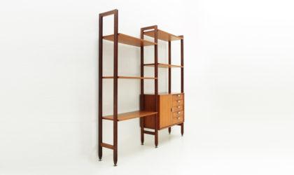 Libreria con dettagli in alluminio Faram anni '60, wall unit, mid century modern, 60s, uprights, teak, vintage, italian design, albini, parisi, ponti