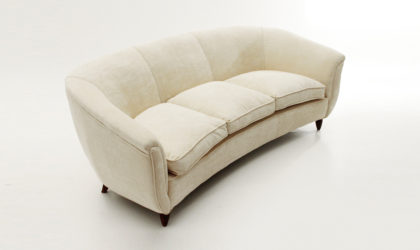 Divano tre posti in velluto bianco anni '50, velvet sofa, vintage, mid Century, italian design, 50s, modern, ico parisi, gio ponti, carlo de carli