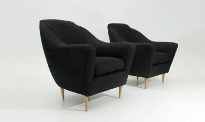 Coppia di poltrone in tessuto nero anni '50, armchairs, vintage, mid century modern, 50s, black, ico parisi, ariberto colombo, italian design modern