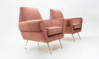 Coppia di poltrone in velluto rosa e piedi in ottone anni '50, vintage armchairs, mid century modern, italian design, velvet pink, gigi radice, minotti