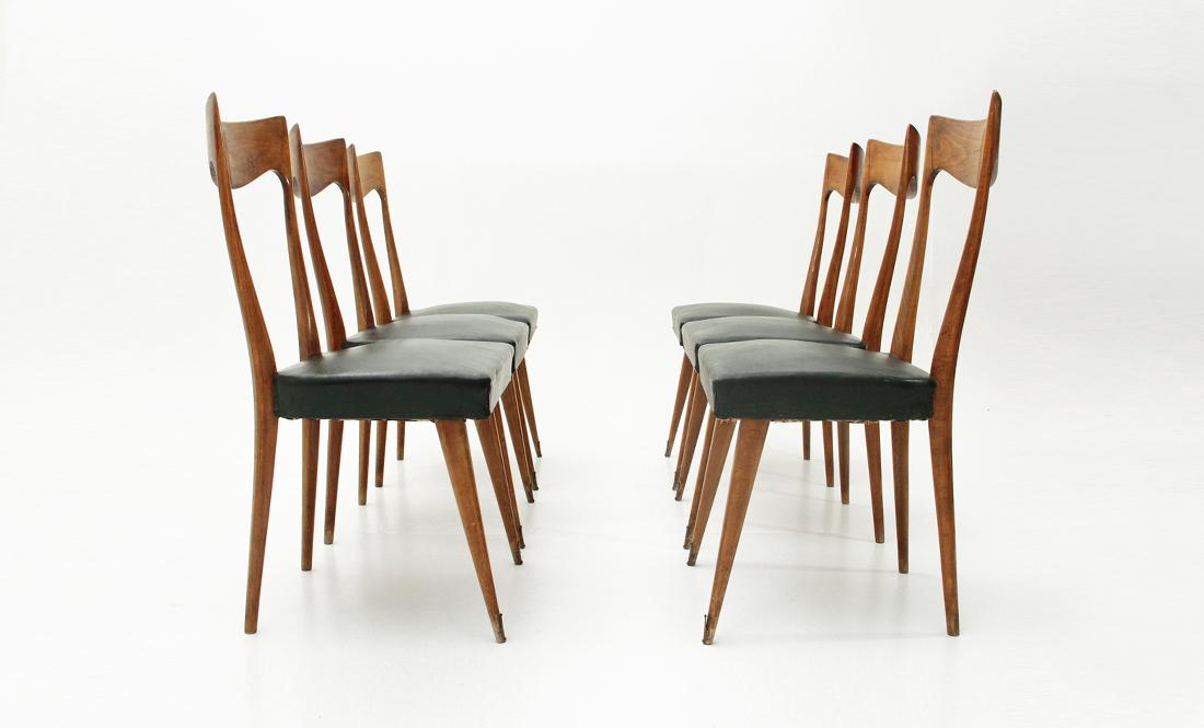 Sedie In Legno Anni 50.Sei Sedie Con Schienale In Legno Anni 50 Six Dining Chairs