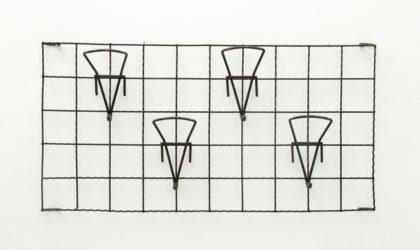 Appendiabiti da parete con ganci anni '50, coat hunger, 50s, black painted metal, italian design, vintage, mid century modern, ico parisi