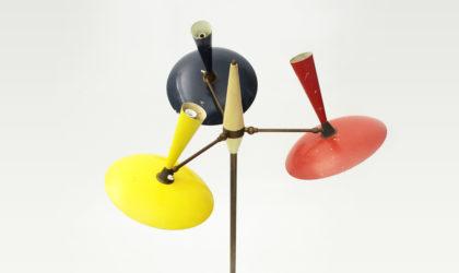 Lampada da terra con diffusori colorati anni '50, vintage floor lamp, mid century modern, 50s, italian design, arredoluce, stilnovo, stilux, arteluce, angelo lelli