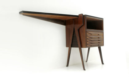 Consolle scrivania anni '50, vintage console desk, mid century italian modern, 50s, wood, ico parisi, design, dassi