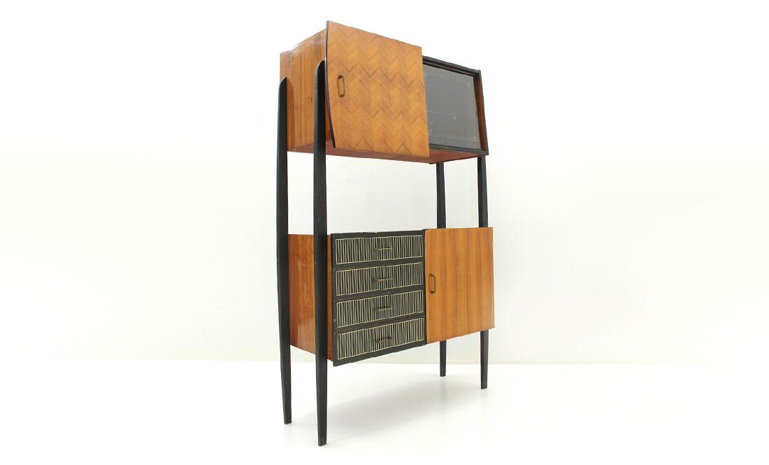Credenza Con Libreria : Credenza con montanti neri e cassetti anni vintage wall unit