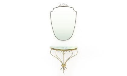 Consolle e Specchio in ottone anni '50, mid century brass console and mirror, 50s, wood, Italian modern design, gio ponti, paolo buffa