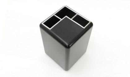 Portaombrelli nero con dettagli cromati anni '70, black umbrella stand , italian design, 70s, willy rizzo, vintage