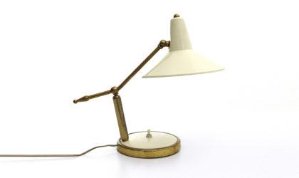 Lampada da tavolo in ottone con diffusore bianco anni '50, italian table lamp, design, 50s, stilnovo, arteluce, arredoluce, lelli, vintage, brass, white