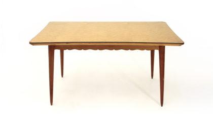 Tavolo in legno con piano in vetro anni '50, vintage dining table, 50s, italian modern design, paolo buffa, wodden, mid century