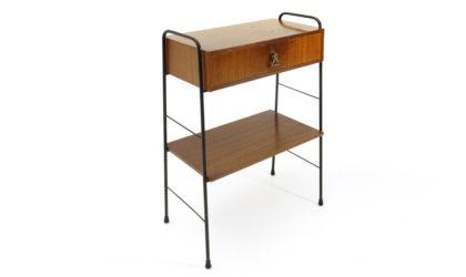 Comodino in teak e metallo nero anni '60, mid century bedside table, 60s, Italian modern design, nightstand,