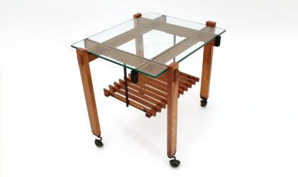 Tavolino in legno con piano in vetro design italiano, coffee table, italian modern design, gio ponti, brusotti, ulrich