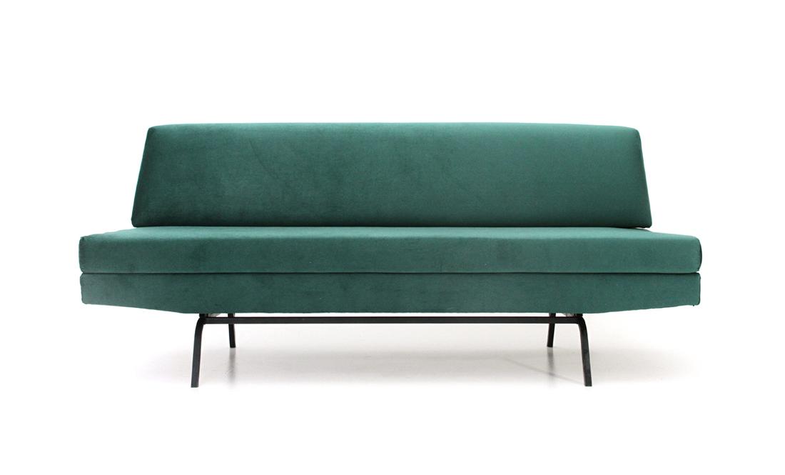 Divano letto in velluto verde anni 60, mid century sofa, vintage ...
