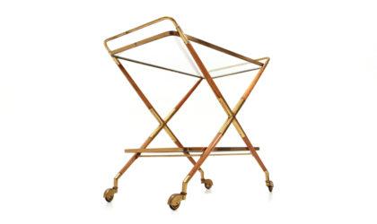 Carrello portavivande con ripiani in vetro anni '50, mid century trolley, 50s, Italian modern design, Cesare Lacca, gio ponti, cart