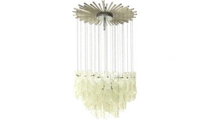 Lampadario con vetri di Murano anni '70, mid century glass chandelier, 70s, italian design, Venini, Seguso.
