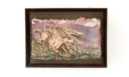 Bassorilievo in ceramica di Albisola di Umberto Ghersi anni '80, ceramic Bas-relief, 80s, italian design, art,