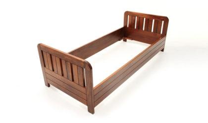 Letto singolo in legno anni '60, single bed, 60s, italian design, vintage, Poltronova, Ettore Sottsass, wood, brown