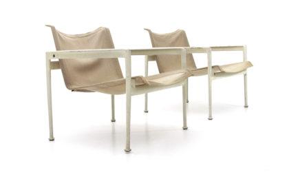 Coppia di poltrone modello 1966 di Richard Schultz per Knoll anni '60, outdoor armchairs, 60s, american design, vintage, aluminium, canvas, esterno