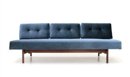 Divano modello 872 di Gianfranco Frattini per Cassina anni '50, mid century blue velvet sofa, 50s, italian design, vintage, letto, sofa bed