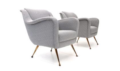 Coppia di poltrone con piedi in ottone anni '50, mid century armchair, brass feet, 50s, italian design, vintage, gigi radice, minotti, arflex