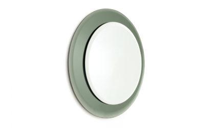 Specchio rotondo con cornice in vetro specchiato anni '70, mid century glass mirror, 70s, italian design, Antonio lupi, Cristal art, fontana arte