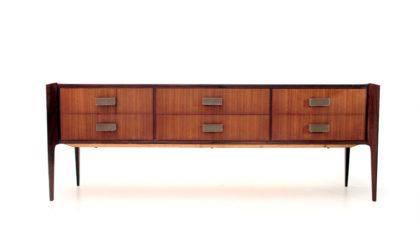 Cassettiera con maniglie in pelle anni '50, vintage chest of drawers, 50s, italian design, mid century modern, dassi, gio ponti, carlo de carli
