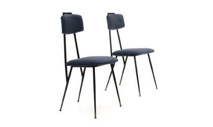 Coppia di sedie in metallo e velluto blu anni '50, vintage chairs, 50s, metal, blu velvet, carlo de cali, gastone rinaldi