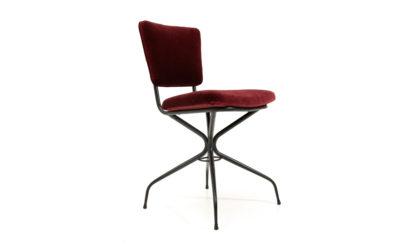 Sedie in metallo e velluto burgundi anni '50, vintage chairs, 50s, metal, burgundi velvet, carlo de cali, gastone rinaldi