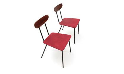 Coppia di sedie in metallo e schienale in compensato anni '50, vintage chairs, 50s, metal, plywood, carlo de carli, carlo ratti, gio ponti