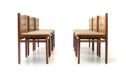 Sei sedie imbottite di Tito Agnoli per La Linea anni '60, chairs vintage, 60s, italian design, mid century modern, bonacina, wood