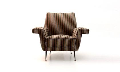 Poltrona in velluto a righe anni '50, vintage armchair, fauteuil, italian design, mid century modern, velvet, bbpr, roberto manghi, frattini, parisi