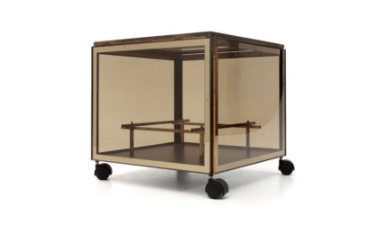 Tavolino mobile bar su rotelle anni '70, coffee table, cart , 70s, italian design, vintage, brass, mirror, willy rizzo, crespi