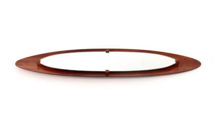Specchio ovale con cornice in compensato curvato anni '50, italian design, mirror, mid century modern, campo e graffi, modernism,