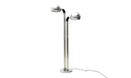 Lampada da terra in metallo cromato anni '70, italian design, chromed floor lamp, 70s, mid century modern, lamperti, reggiani ,targetti