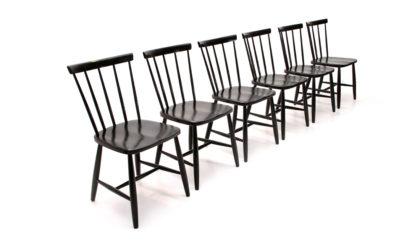 sei sedie in legno nero modello Lena di Casa Arredo anni '60, chairs, swtedish design, mid century modern, 60s, Yngve Ekstrom, Nesto