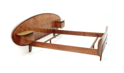Letto con comodini anni '50, bed with nightstand, italian design, mid century modern, 50s, wood, ico parisi, paolo buffa