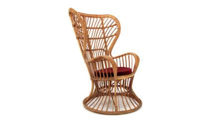 Poltrona in rattan di Lio Carminati per Casa e Giardino anni '50, armchair, italian design, mid century modern, 50s, gio ponti, bonacina