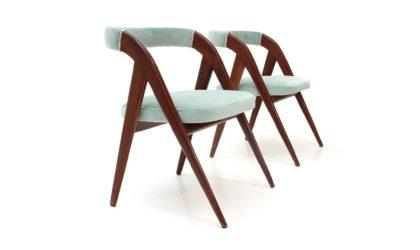 Coppia di sedie in velluto celeste anni '50, velvet chairs, italian design, mid century modern, 50s, gio ponti, carlo de carli