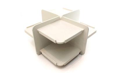 Tavolino quadrato con ripiani anni '60, coffee table, italian design, mid century modern, 60s, carlo de carli, saporiti, sormani